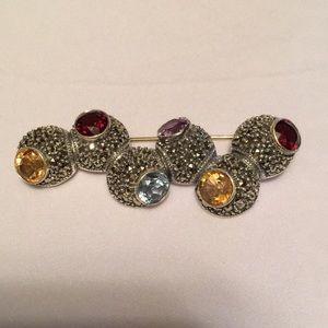 Judith Jack Vintage Sterling Silver Marcasite Pin